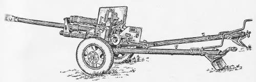 вид пушки ЗИС-3 в боевом положении