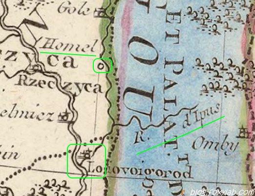 Гомель на карте 1812 года