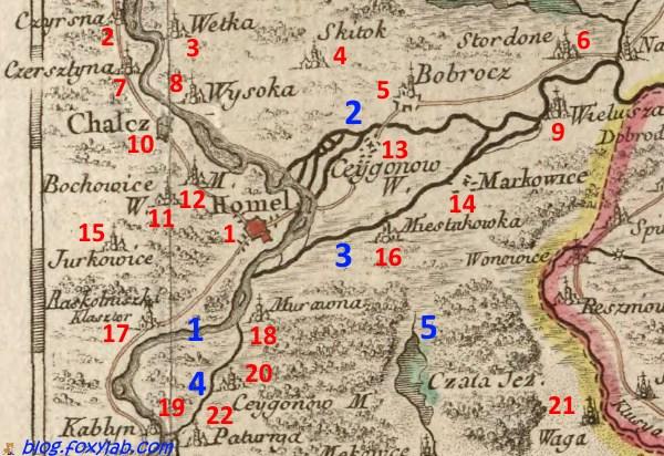 старинная карта Гомеля