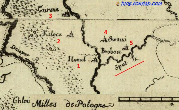 карта Гомеля 1770 год
