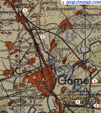 карта Гомеля 1943