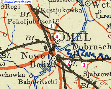 немецкая карта Гомель 1943 год